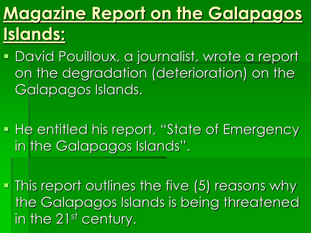 Magazine Report on the Galapagos Islands: