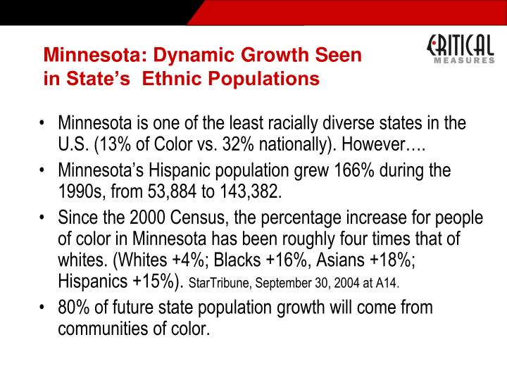 Minnesota: Dynamic Growth Seen in State's  Ethnic Populations