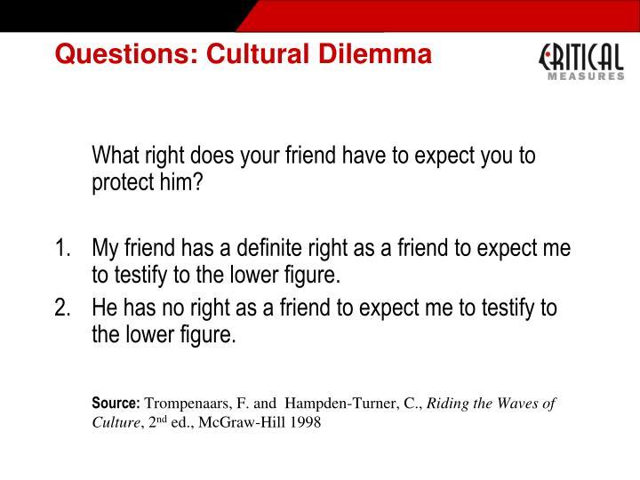 Questions: Cultural Dilemma