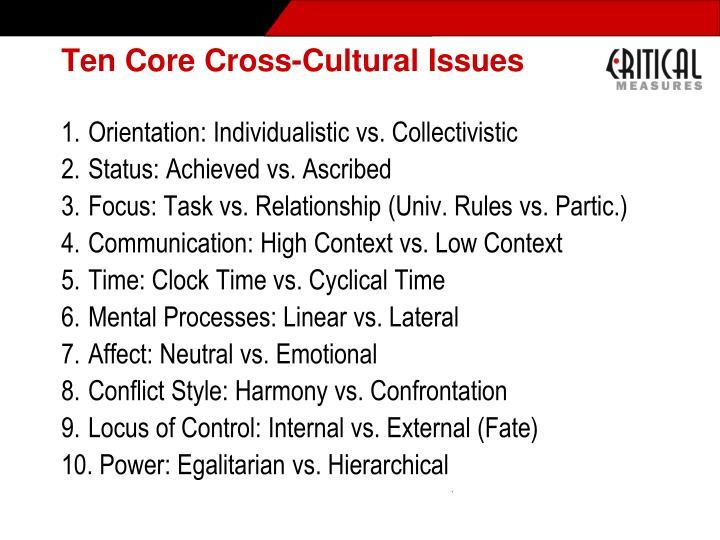 Ten Core Cross-Cultural Issues
