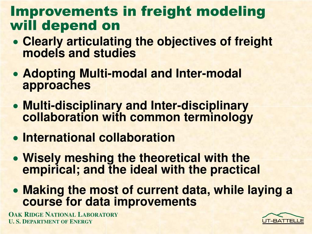 Improvements in freight modeling will depend on