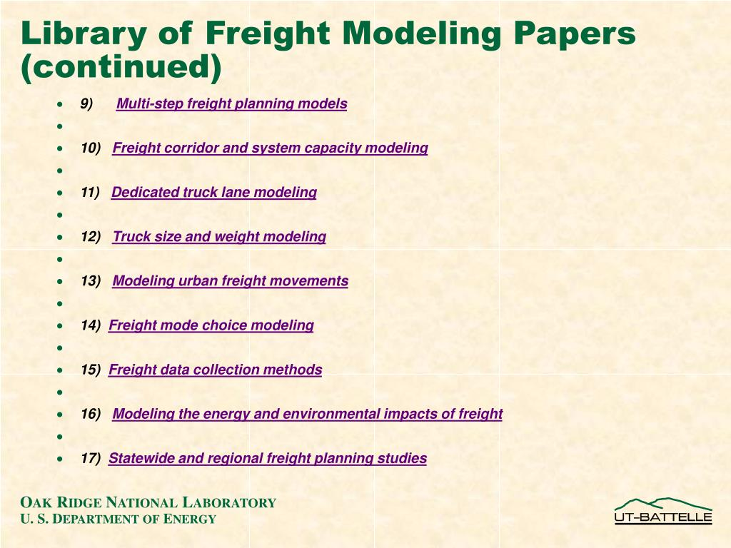 Library of Freight Modeling Papers (continued)