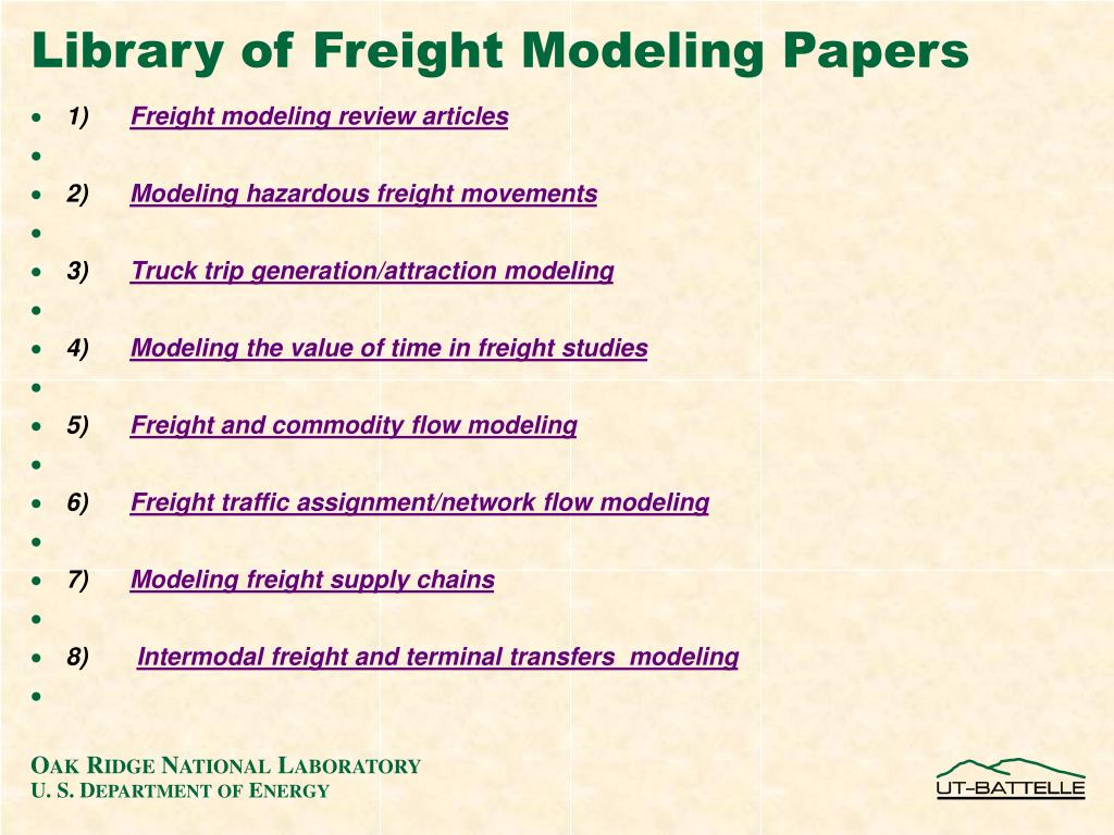 Library of Freight Modeling Papers