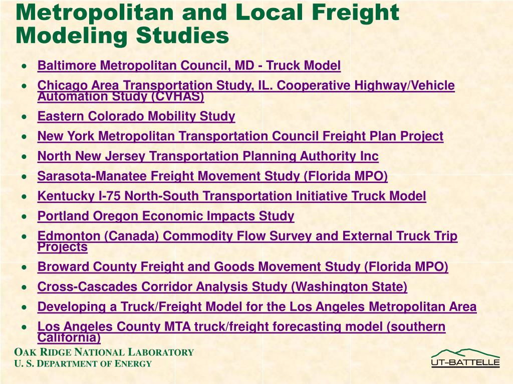 Metropolitan and Local Freight Modeling Studies