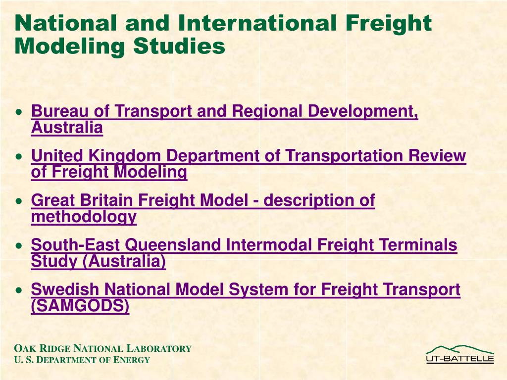 National and International Freight Modeling Studies