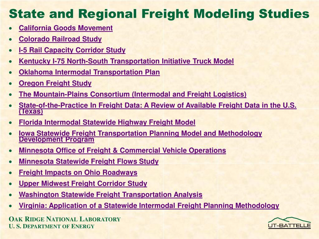 State and Regional Freight Modeling Studies