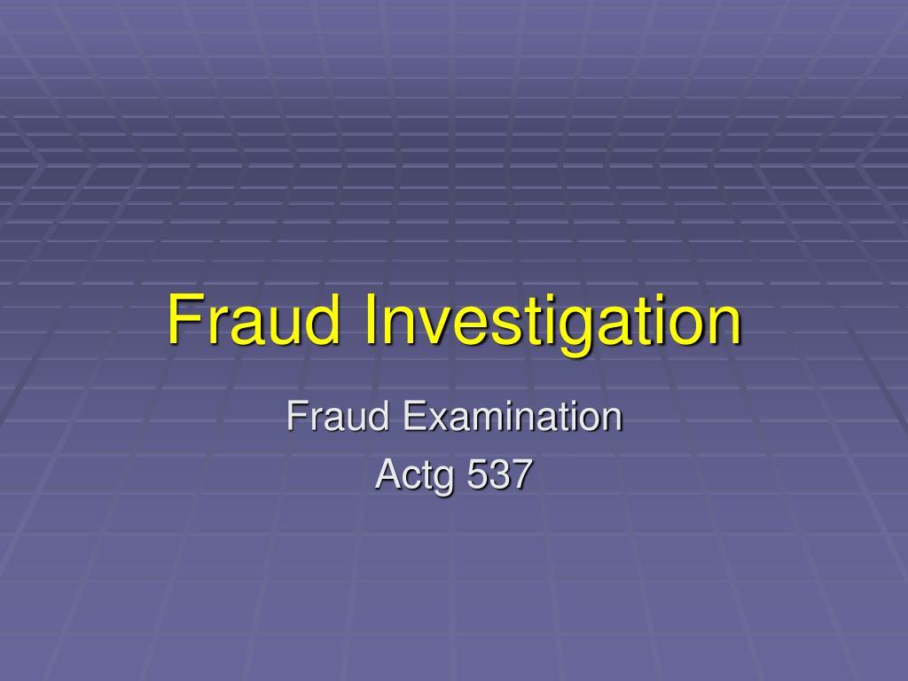 fraud investigation l.