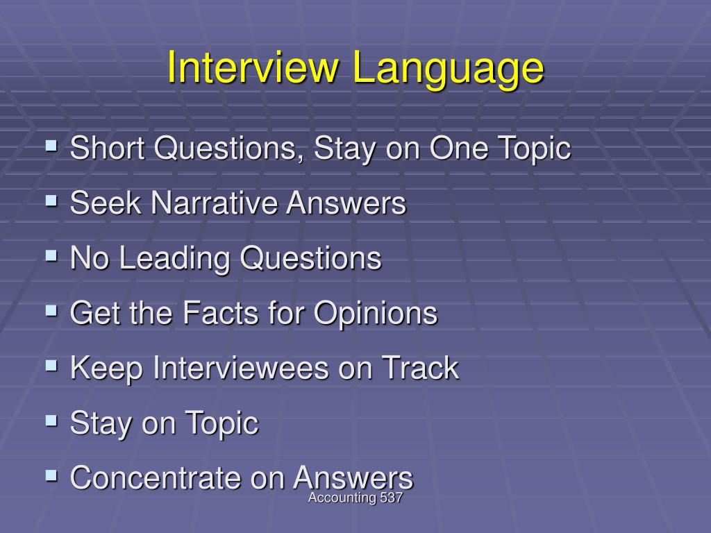 Interview Language