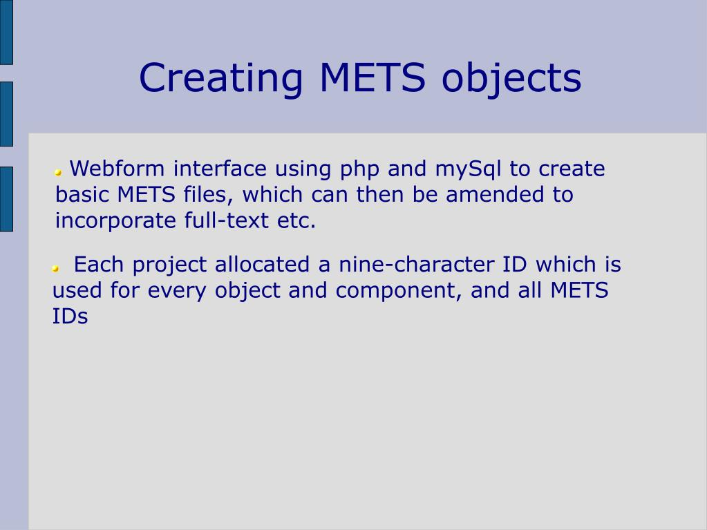 Creating METS objects