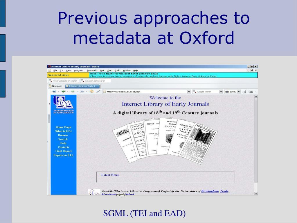 Previous approaches to metadata at Oxford