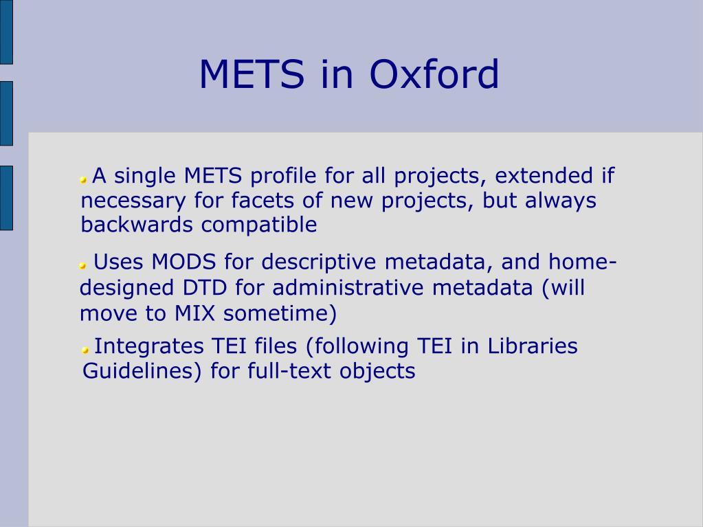 METS in Oxford