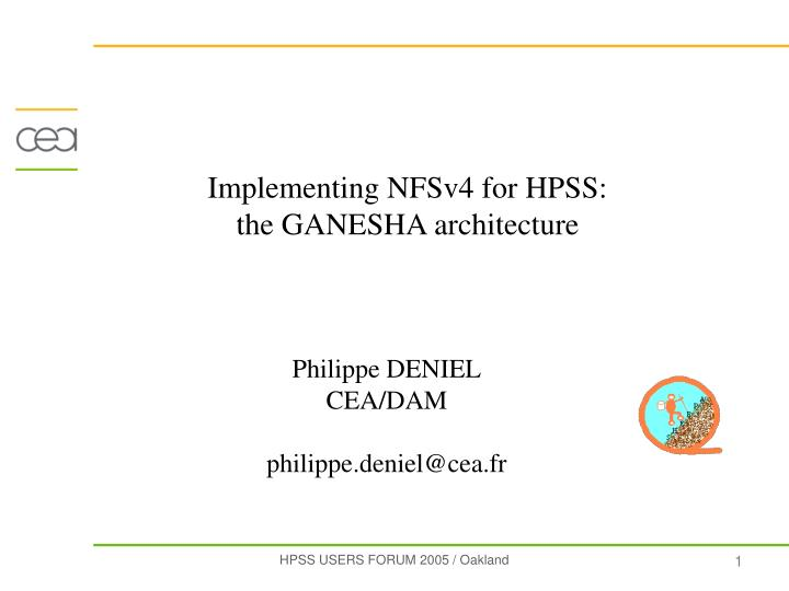 Implementing NFSv4 for HPSS: