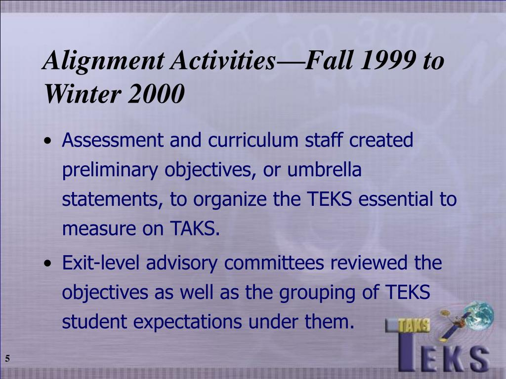 Alignment Activities—Fall 1999 to Winter 2000