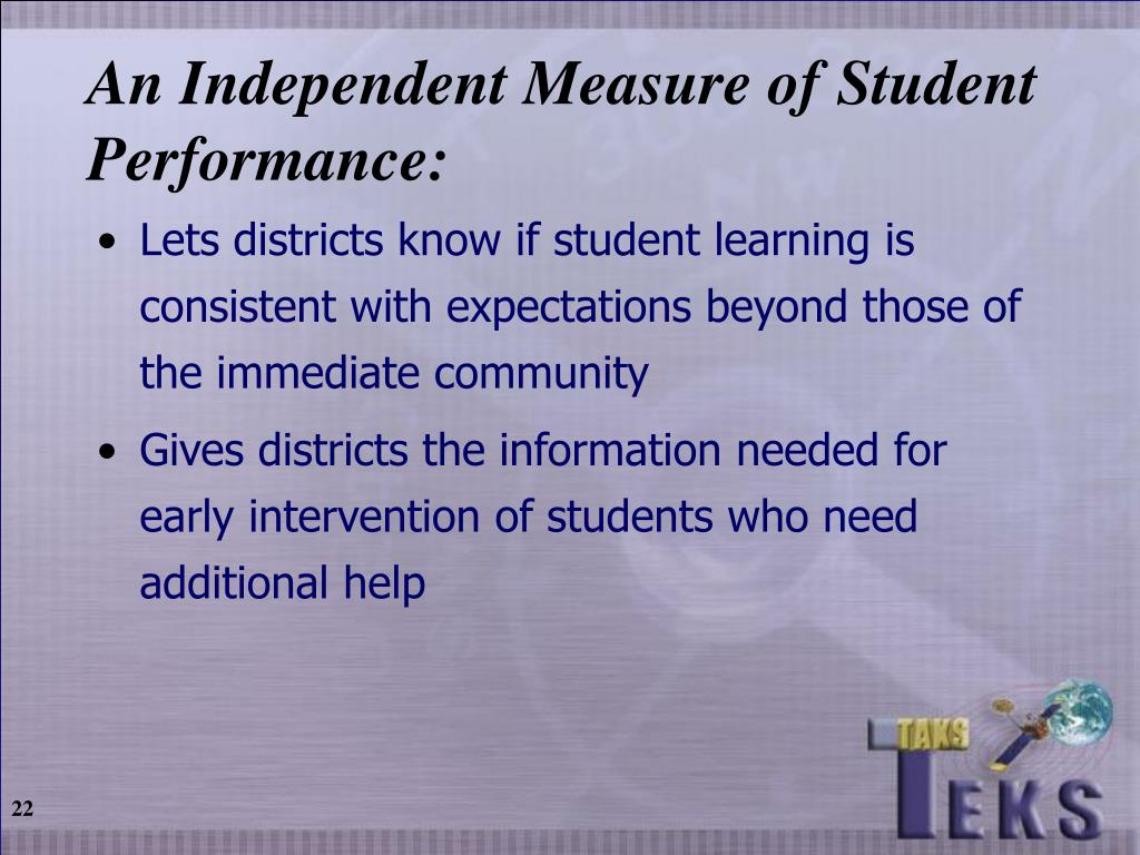 An Independent Measure of Student Performance: