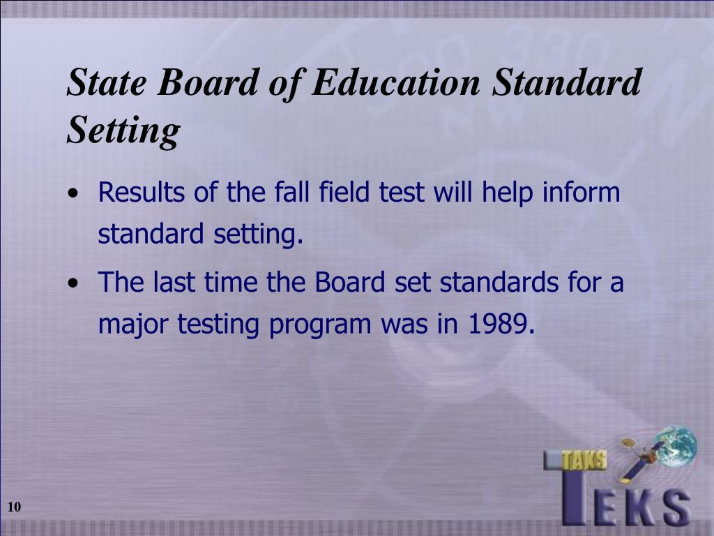 State Board of Education Standard Setting