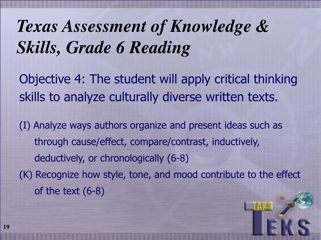 Texas Assessment of Knowledge & Skills, Grade 6 Reading