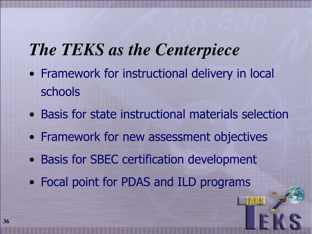 The TEKS as the Centerpiece