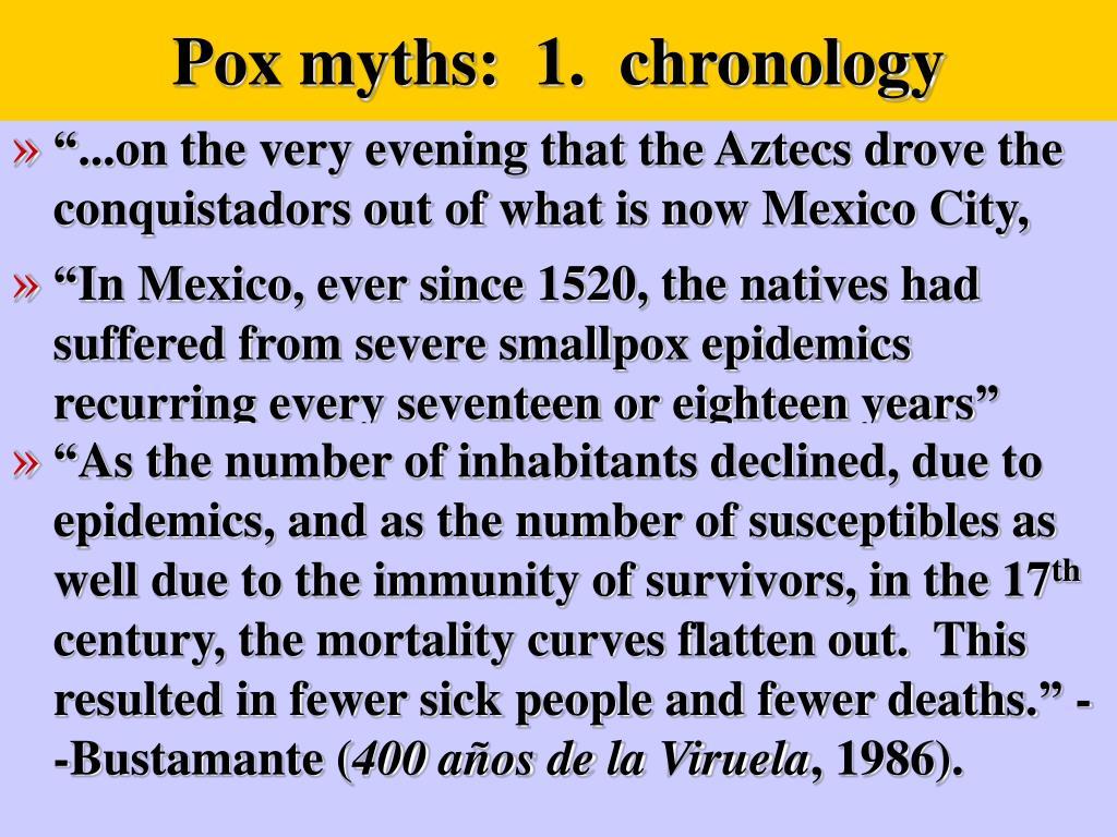 Pox myths:  1.  chronology