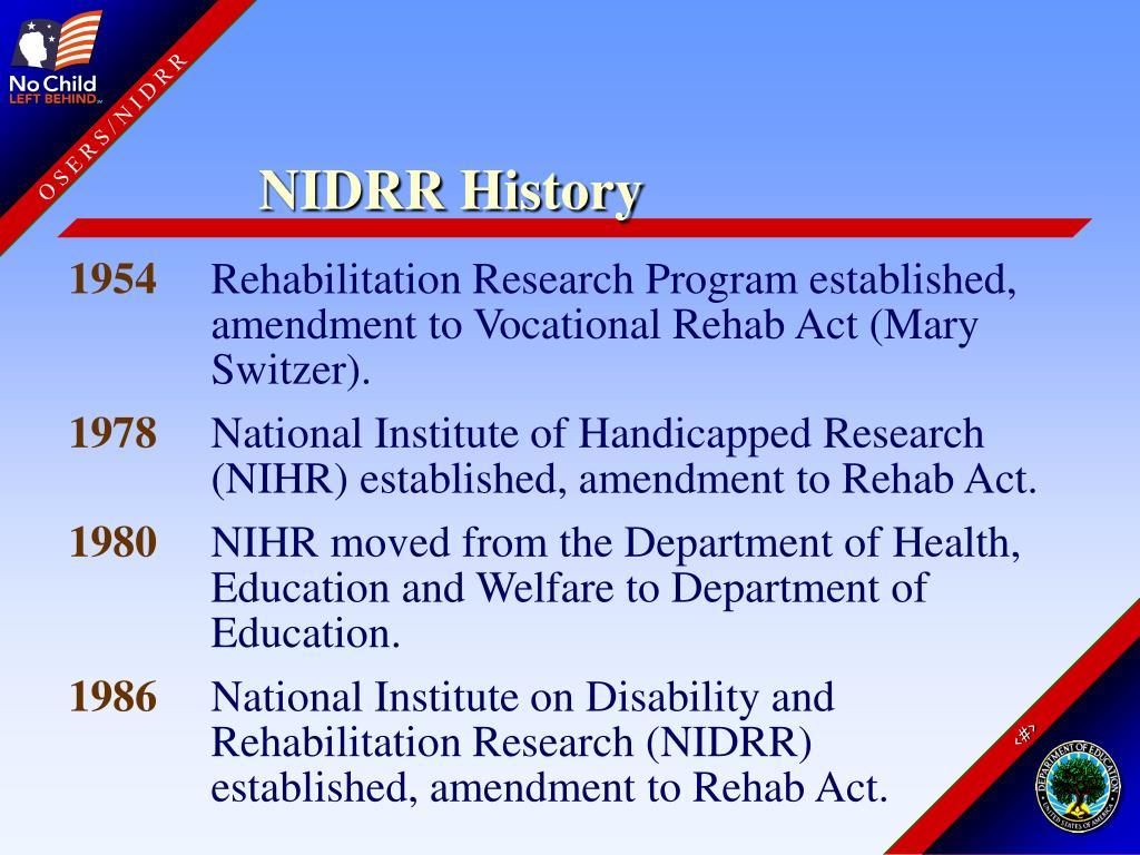 NIDRR History