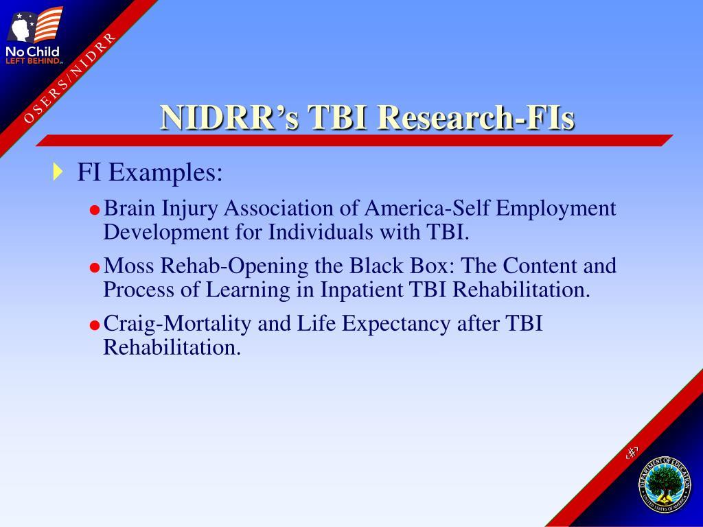 NIDRR's TBI Research-FIs