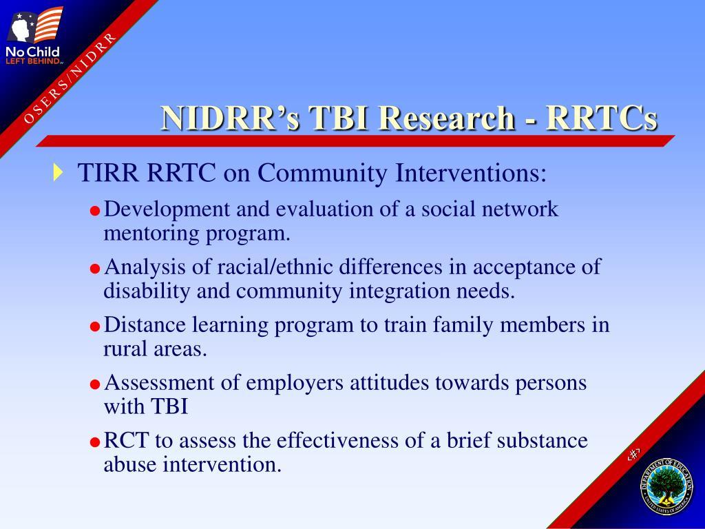 NIDRR's TBI Research - RRTCs