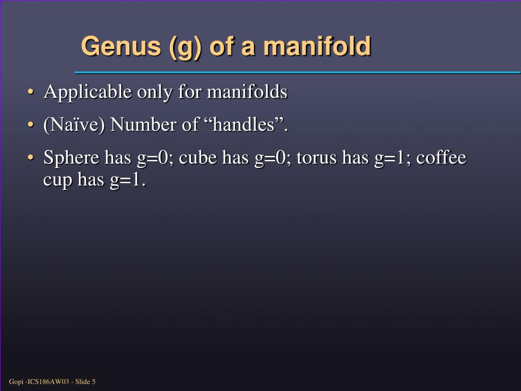 Genus (g) of a manifold