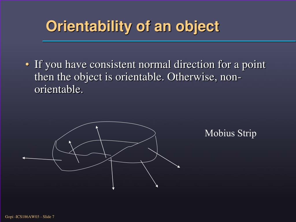 Orientability of an object