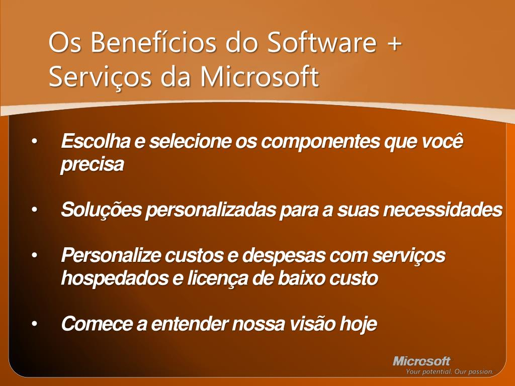 Os Benefícios do Software + Serviços da Microsoft