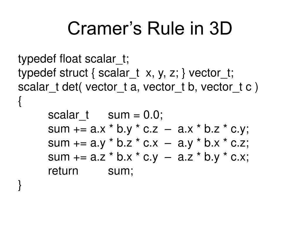 Cramer's Rule in 3D