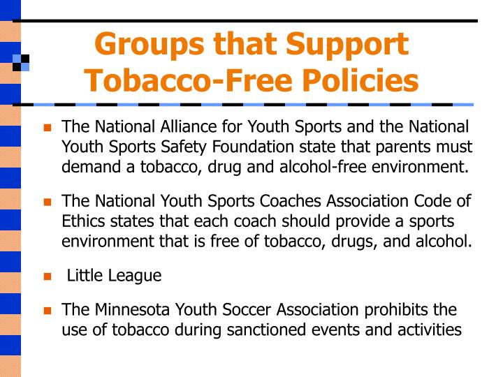 Groups that support tobacco free policies