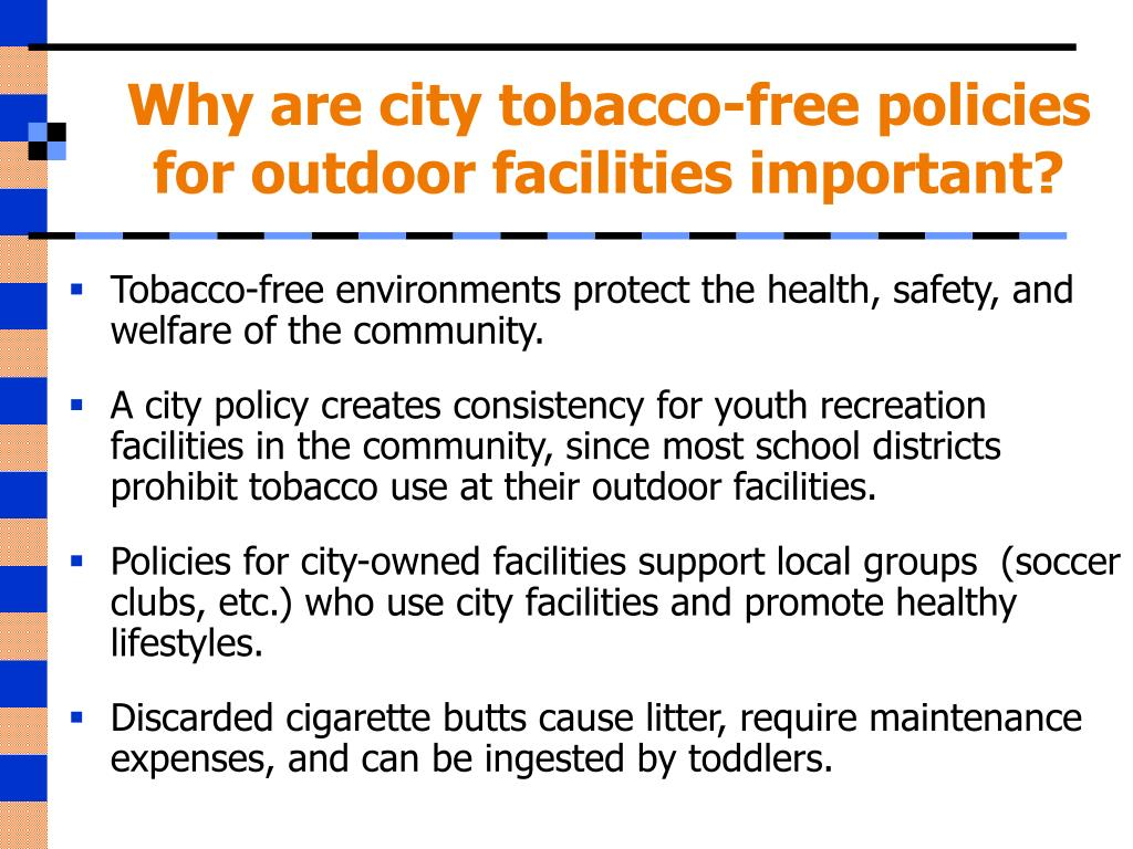 Why are city tobacco-free policies for outdoor facilities important?