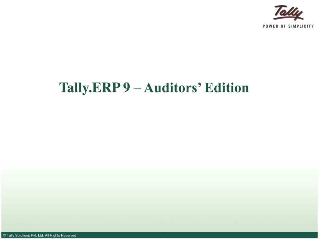 tally erp 9 auditors edition l.