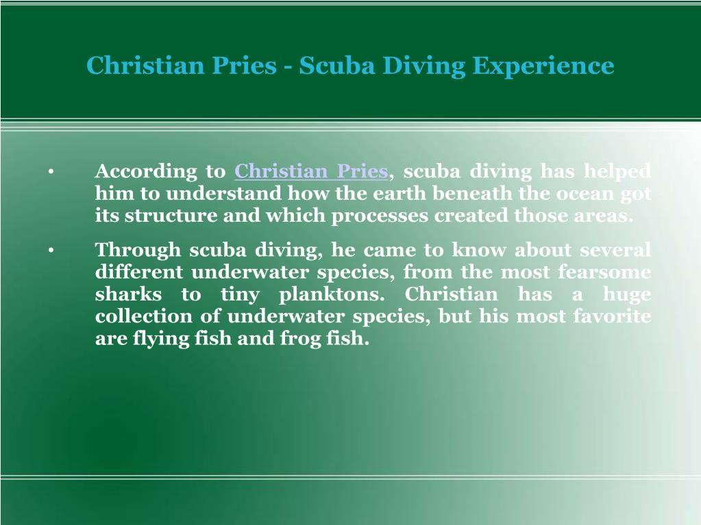 Christian Pries - Scuba Diving Experience