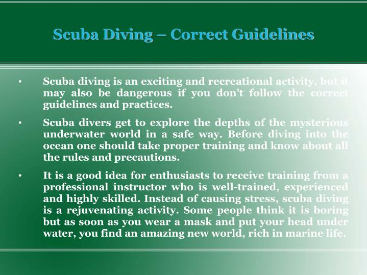 Scuba diving correct guidelines