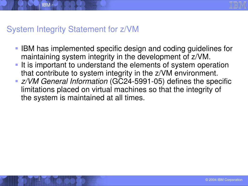 System Integrity Statement for z/VM