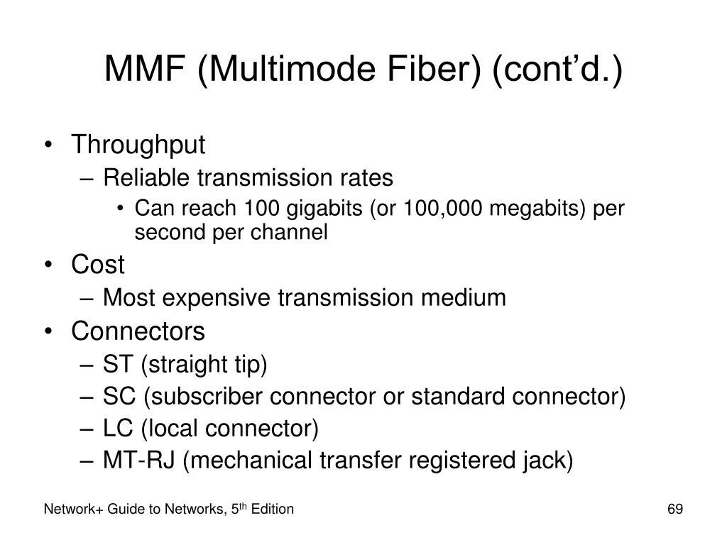 MMF (Multimode Fiber) (cont'd.)