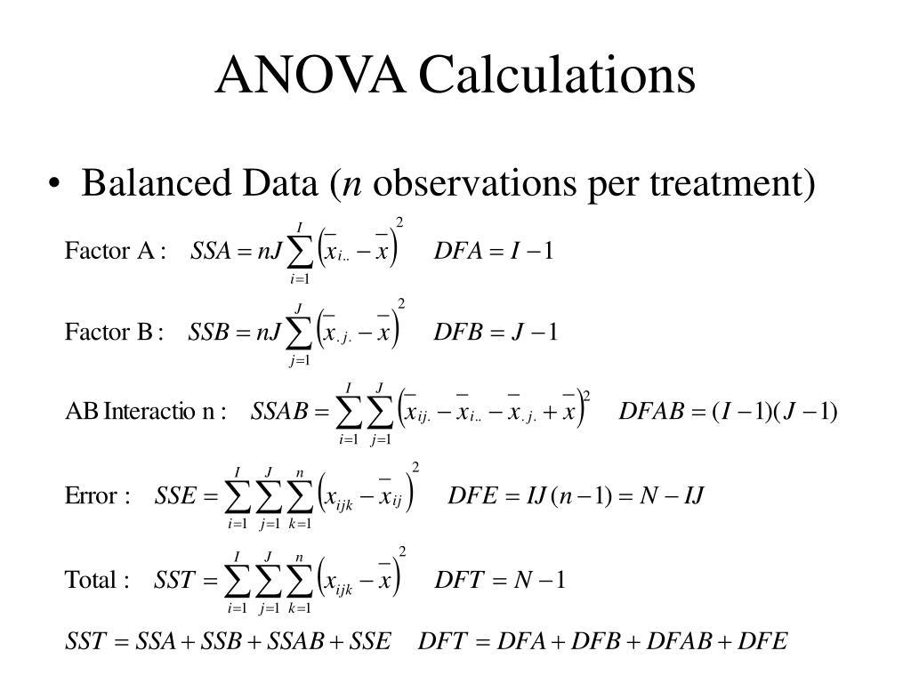 ANOVA Calculations