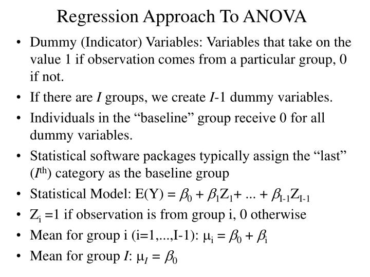 Regression approach to anova