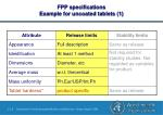 fpp specifications example for uncoated tablets 1