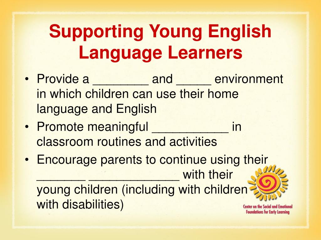 Supporting Young English Language Learners