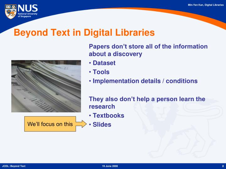 Beyond text in digital libraries