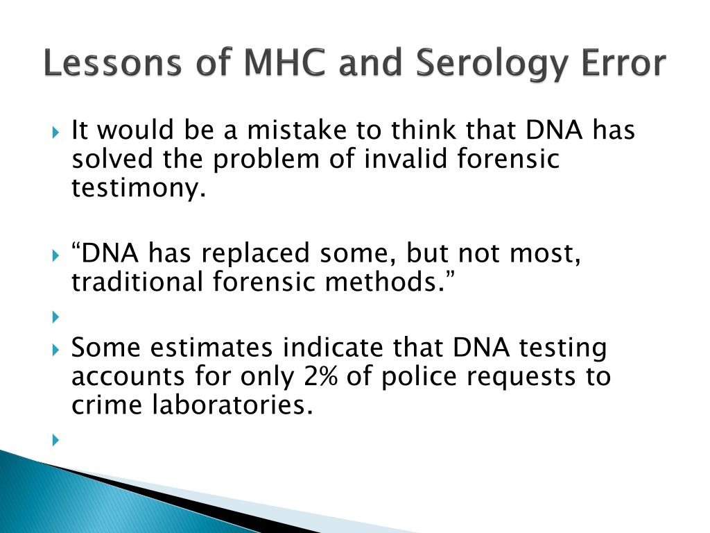 Lessons of MHC and Serology Error