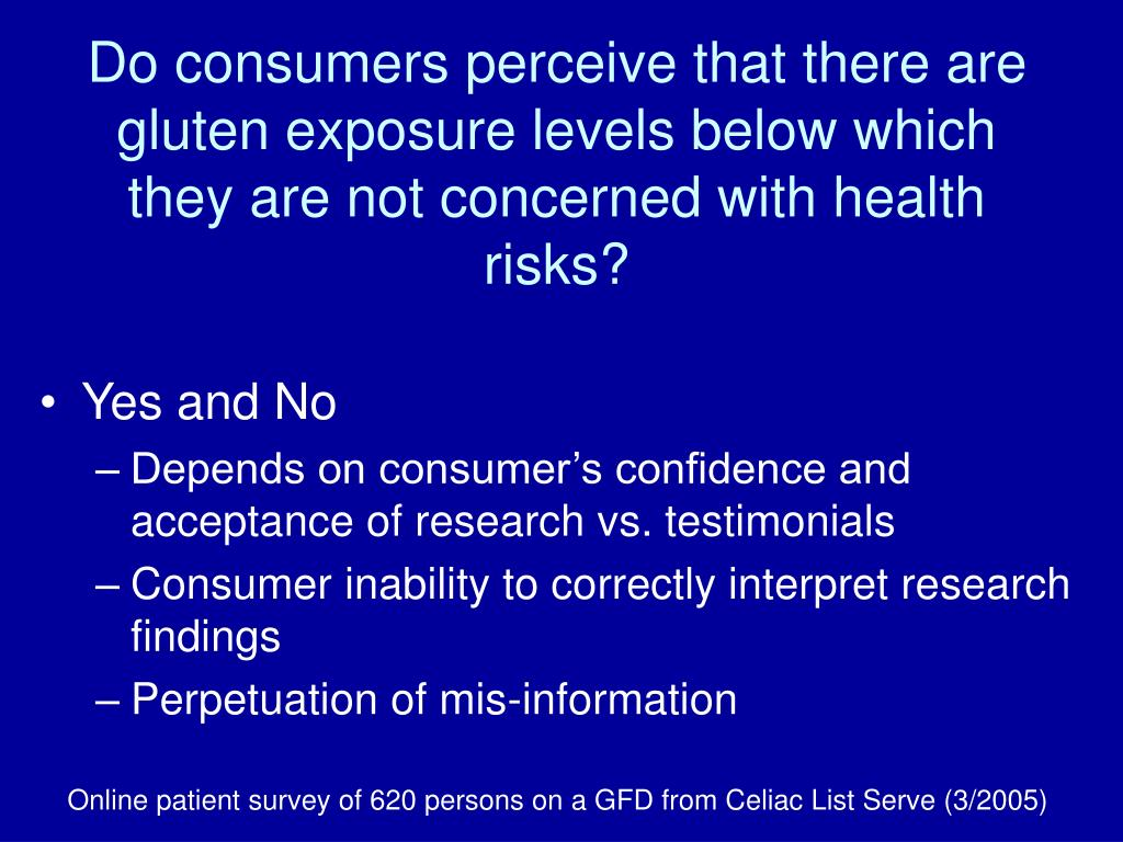 Do consumers perceive that there are gluten exposure levels below which they are not concerned with health risks?