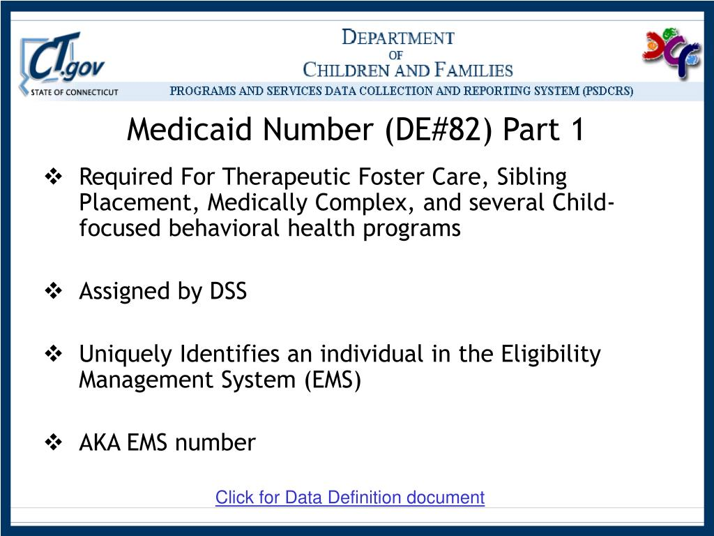 Medicaid Number (DE#82) Part 1