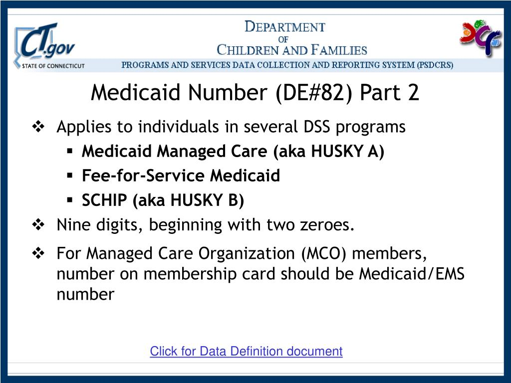 Medicaid Number (DE#82) Part 2