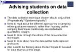 advising students on data collection18