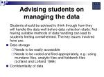 advising students on managing the data