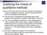 justifying the choice of qualitative methods