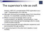 the supervisor s role as craft