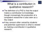 what is a contribution in qualitative research